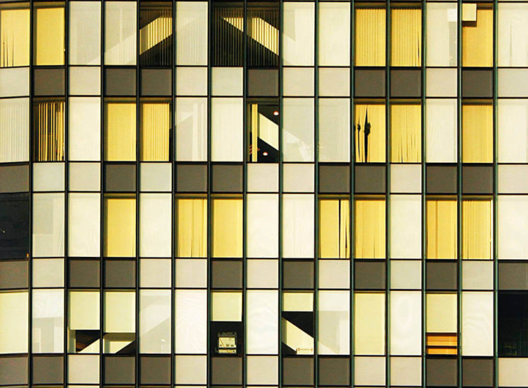 Windows pattern of a corporate building in Bucharest, Romania