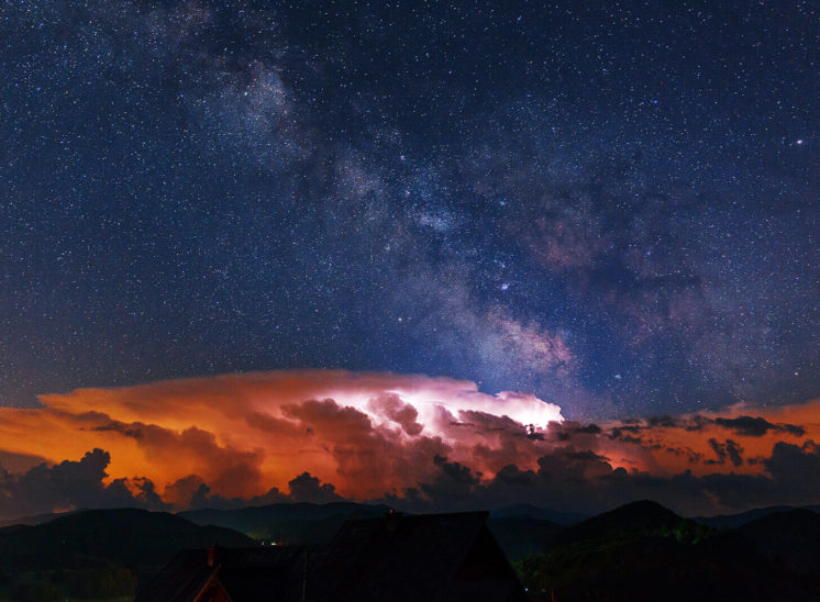 Storm and clear sky captured together