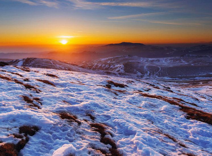 Cold morning sunset on the Carpathian Mountains