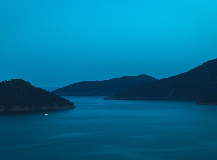 Night landscape of Greek islands near Thassos