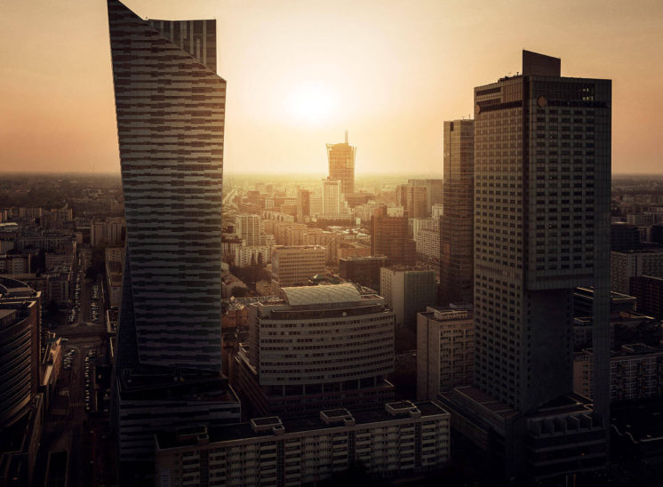 Landscape of Warsaw city made from the Palace of Culture