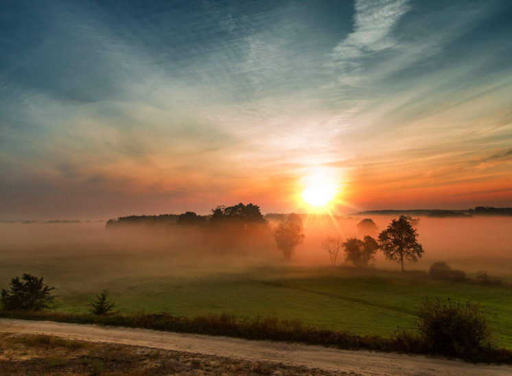 Foggy sunrise near the city of Warsaw