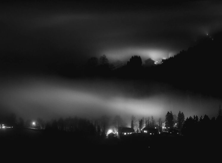 Night landscape during hiking near Dornbirn, Austria