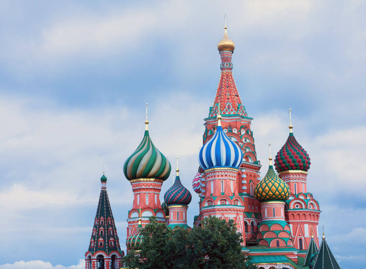 Top of the St. Basil Cathedral in Moscow, Russia