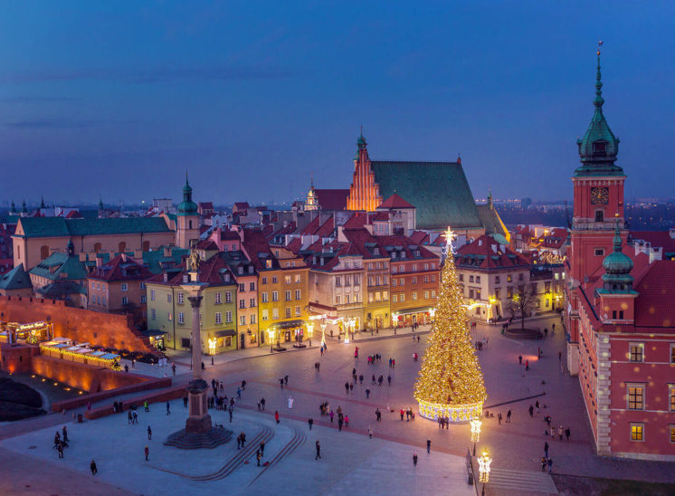 Warsaw city center during winter holidays